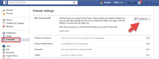 Facebook Follower Settings