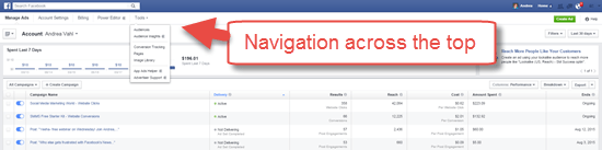 New Facebook Ads Navigation