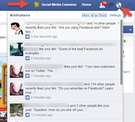 Notifications logged in as Page