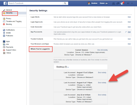 Review where logged in on Facebook