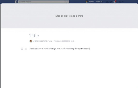 Creating a Facebook Note