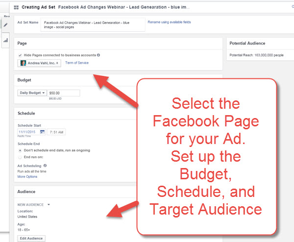 Create the Facebook Ad Set