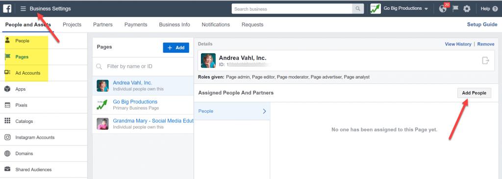 Facebook Business Settings assign assets