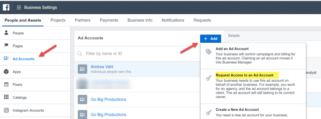 Request Access to a Facebook Ads Account