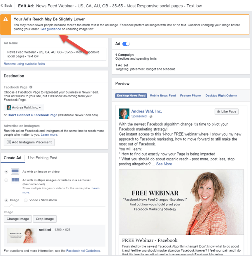 Warning with Facebook Ads text rule