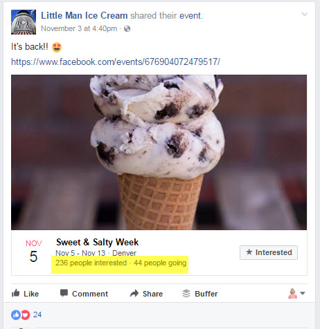 Example of Facebook Events