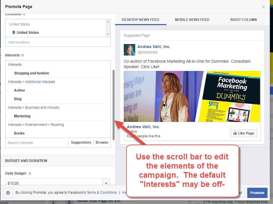 Edit your Facebook Like Ad