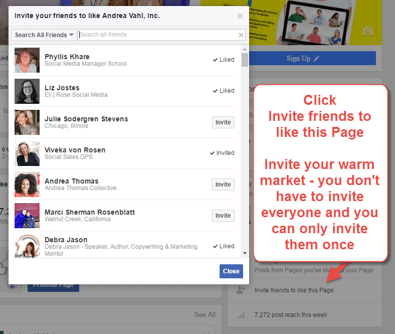 Invite your warm market to like your page