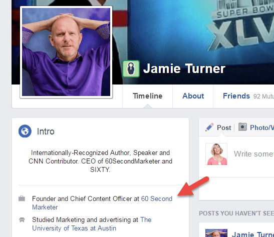 Personal profile tied to company