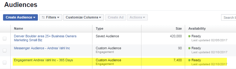 Facebook Custom Audiences list