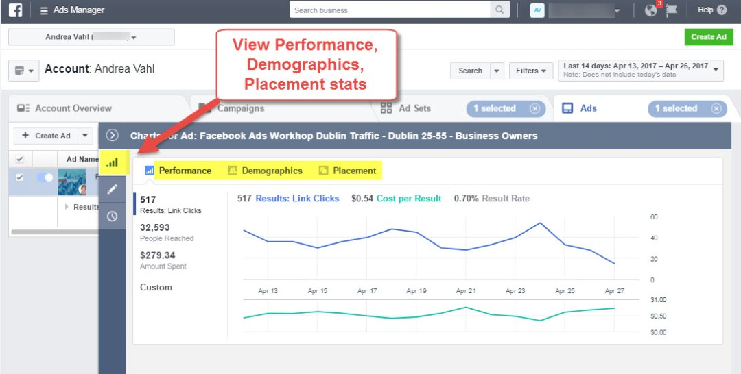 View Facebook Ad Performance