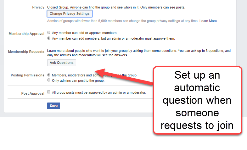 Set a question when someone requests to join Facebook group