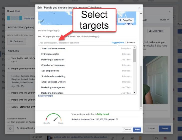Boosted Posts select target keywords