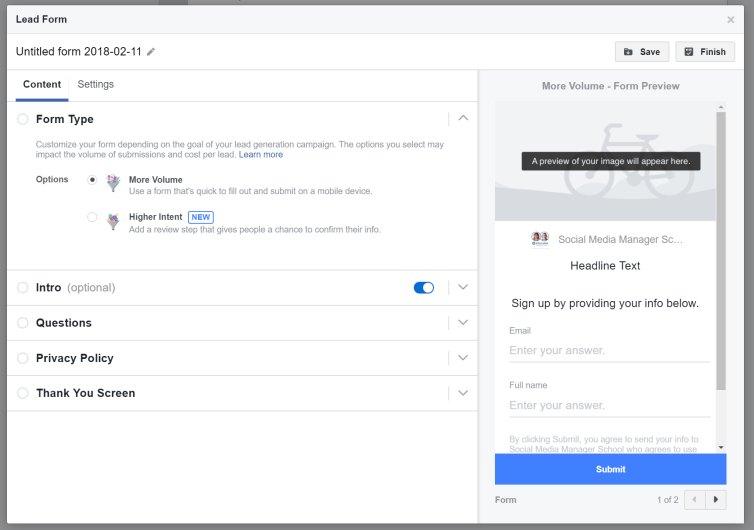 Facebook Lead form configuration