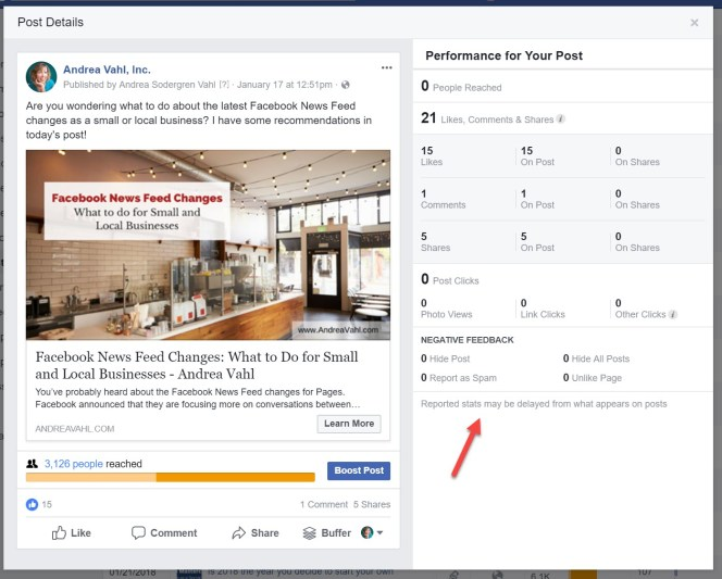 View negative feedback on a Facebook Post
