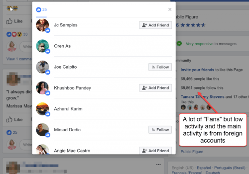 Fake Facebook Fans Activity
