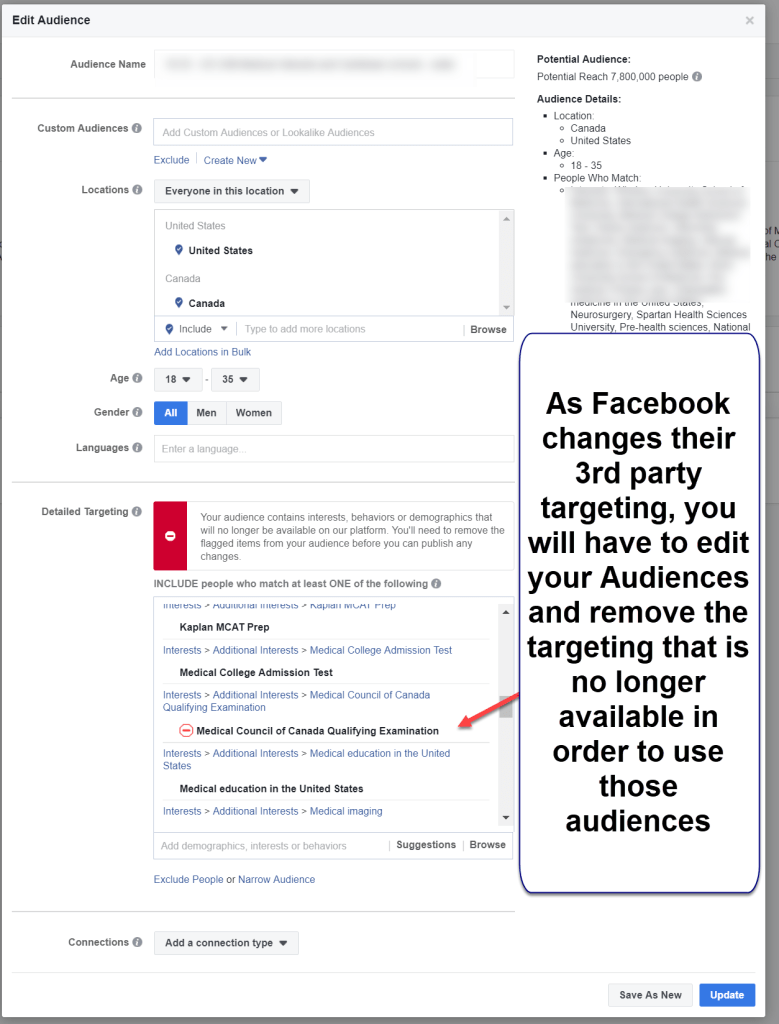 Previous Audiences using Facebook Targeting