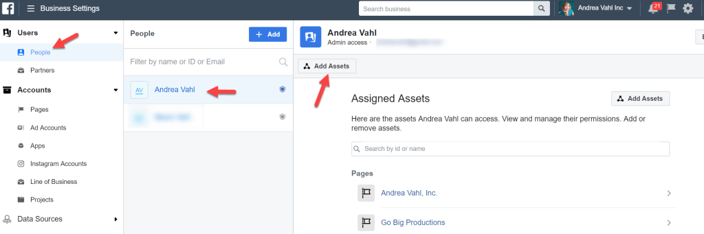 Adding Assets to users in Business Manager