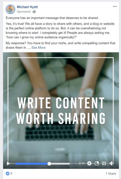 Michael Hyatt Facebook video ad