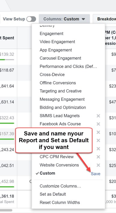 Save a Facebook Report