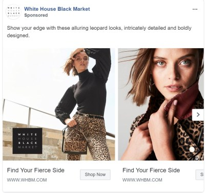 Carousel Facebook ad with retargeting