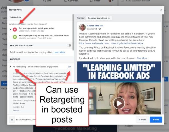 Boosting Facebook Posts - use Retargeting