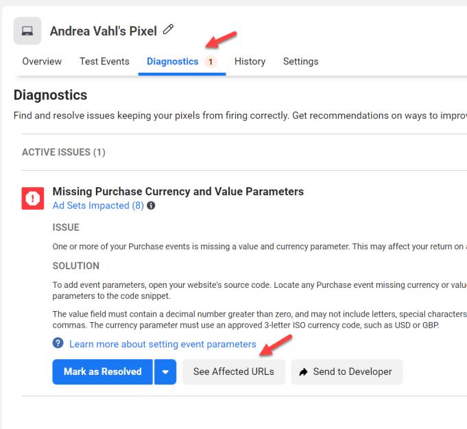 Diagnostics in Facebook Events Manager