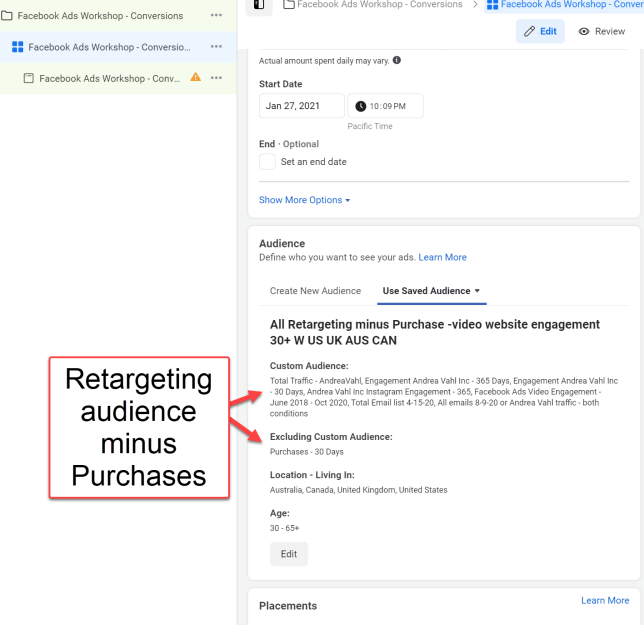 Retargeting Audience minus Purchases