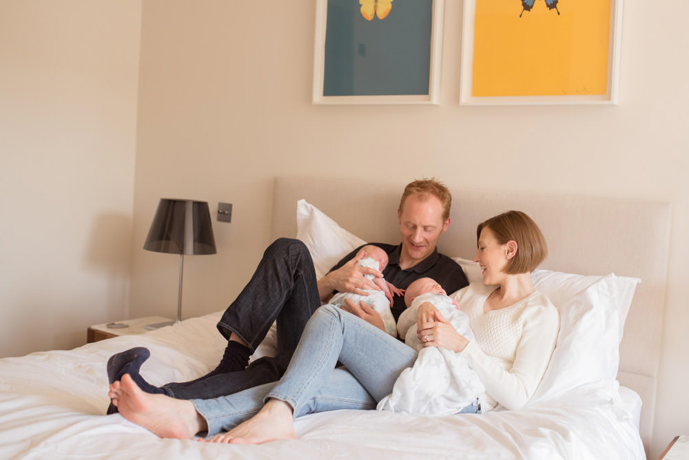Relaxed newborn twins family photo