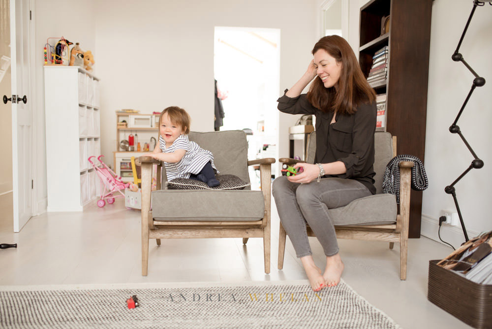 Mother and daughter portrait at home