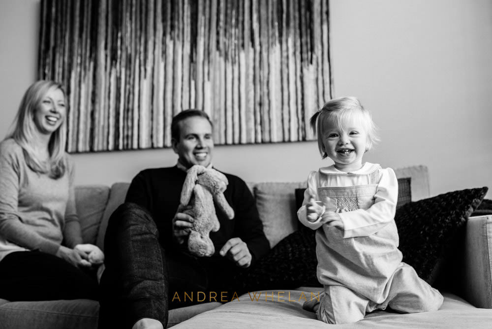 black and white fun father and daughter portrait