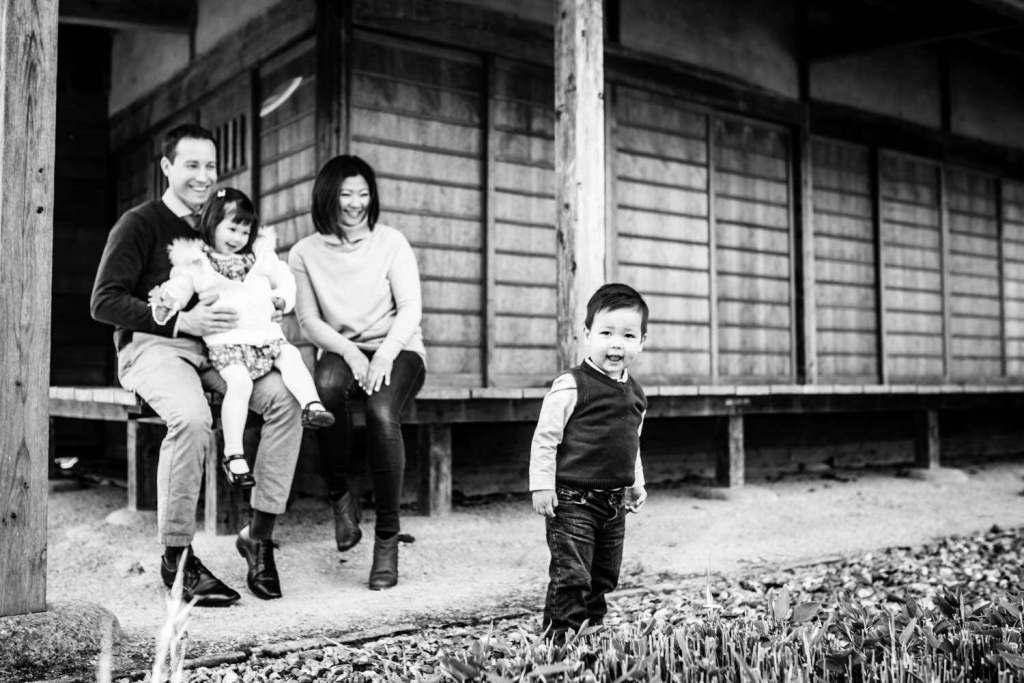 black and white family photo
