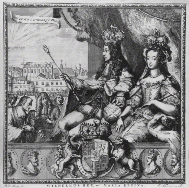 NPG D32270; King William III; Queen Mary II by Romeyn de Hooghe, published by  Carel Allard, by Romeyn de Hooghe, published by  Carel Allard, etching with additional letterpress text, 1689 or after. National Portrait Gallery, London.