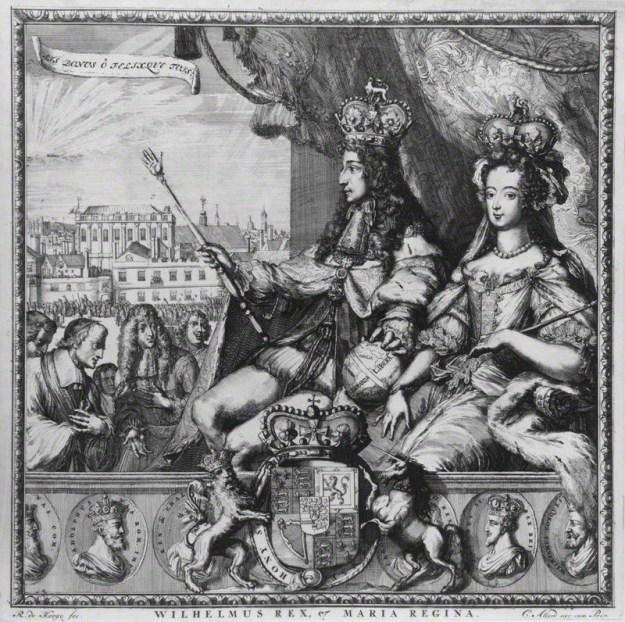 NPG D32270; King William III; Queen Mary II by Romeyn de Hooghe, published by  Carel Allard, by Romeyn de Hooghe, published by  Carel Allard, etching with additional letterpress text, 1689 or after. National Portrait Gallery, London.