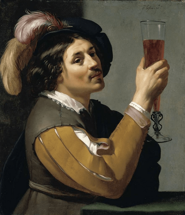 BIJLERT, Jan van Young Man Drinking a Glass of Wine 1635-40 Oil on canvas, 65 x 56 cm Private collection, via Web Gallery of Art.
