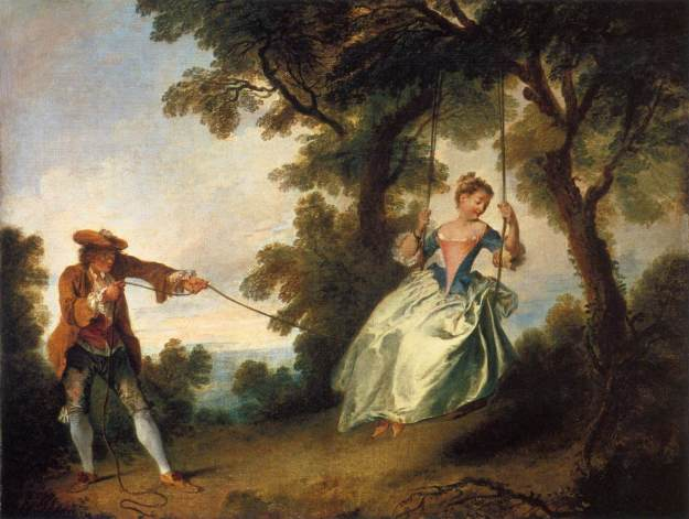 LANCRET, Nicolas The Swing c. 1735 Oil on canvas, 70 x 89 cm Victoria and Albert Museum, London.