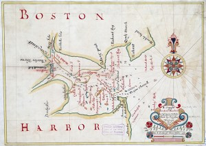 Boston Harbor in 1694 by Cyprian Southack. Map reproduction courtesy of the Norman B. Leventhal Map Center at the Boston Public Library.