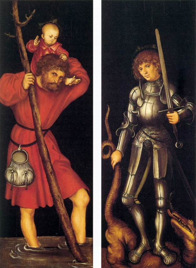CRANACH, Lucas the Elder Sts Christopher and George (outer side) c. 1514 Oil on panel, 85 x 31 cm (each wing) Fundación Colección Thyssen-Bornemisza, Pedralbes, via Web gallery of art