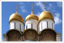 Росписи на восточном фасаде Успенского собора: «Новозаветная Троица», «Похвала Богоматери», «София Премудрость Божия».