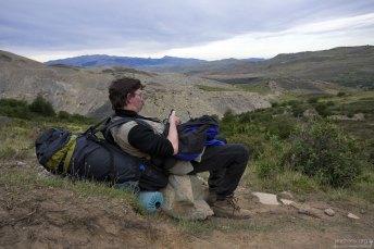 Проверка GPS-координат на тропе к трем вершинам Torres del Paine.