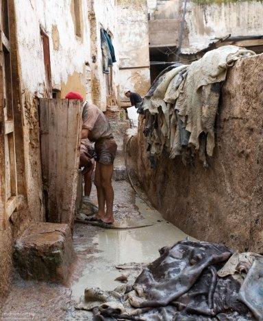 Для очистки шкуры от шерсти, местные мастера используют негашеную известь. Кожевенный кооператив в медине. Фес.
