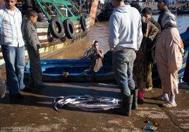 Пойманное выбрасывается из лодок прямо под ноги покупателям.