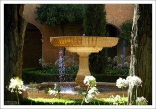 Старинный фонтан в саду Альгамбры.