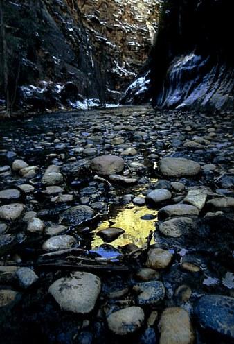 """Золотая лужа. Вход в каньон """"The Narrows""""."""