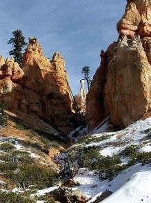 """Вид на Молот Тора со дна каньона. Тропа """"Навахо""""."""