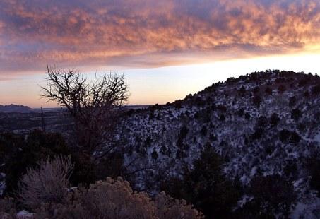 Склоны каньона Kolob на закате.