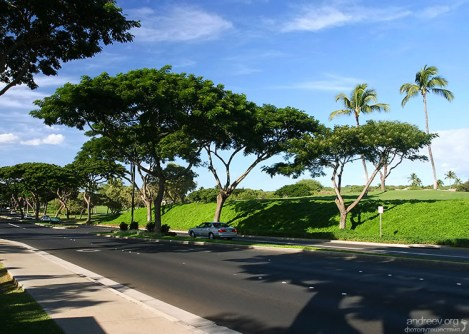 Дорога через курортный городок Wailea.