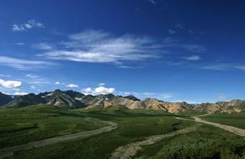 Обзорная площадка Polychrome overlook и восточная часть горной цепи Alaska range.