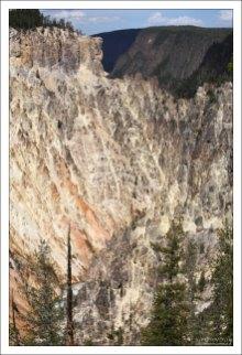 Вид на стену Большого каньона Йеллоустоуна с обзорной площадки Inspiration Point.