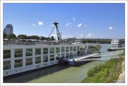 Дунай и мост НЛО на заднем плане.